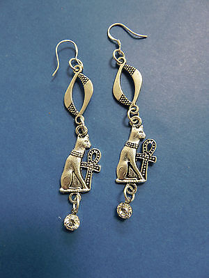 "EGYPTIAN STEAMPUNK / VICTORIAN STYLE A.SP 3"" Bastet & Ankh EARRINGS .925 HOOKS"