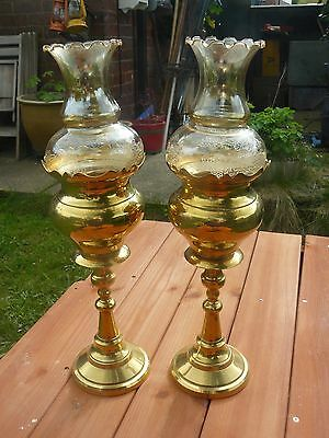 """Vintage pair of 18""""  tall brass candle lamps with ETCHED SMOKED  glass shades"""