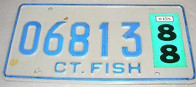 1988 Connecticut CT Fish License Plate White on Blue 06813 Danbury