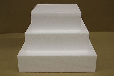 "Set of Three 6"" 8"" and 10"" Square Straight Edge Cake Dummies 3"" High - Fr... NEW"