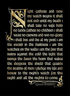 Game of Thrones - Night's Watch Oath - 30 x 40cm Framed Poster Print FP10679P