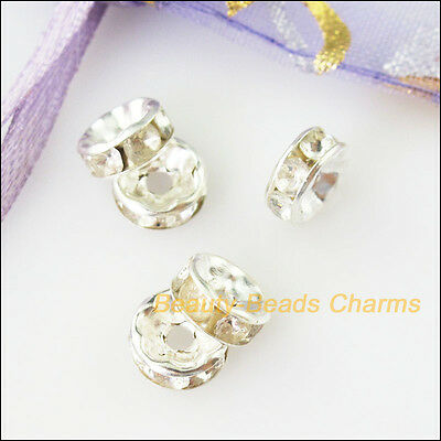 50Pcs Crystal Silver Plated Round Flat Spacer Beads End Caps Charms 8mm