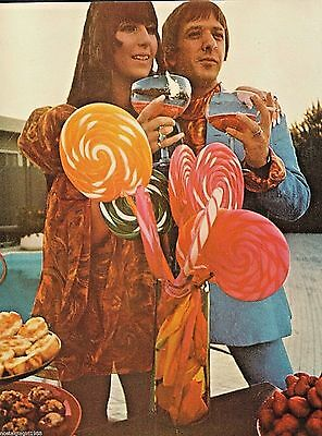 """1967 Sonny and Cher hippie dress lollipops pool champagne photo print 10""""x13"""""""