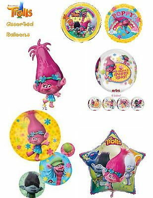 Assorted Trolls Foil Latex Balloons & optional personalisation Party Decoration