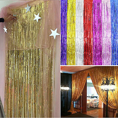 Best Metallic Fringe Curtain Party Foil Tinsel Home Room Decor Door Decoration