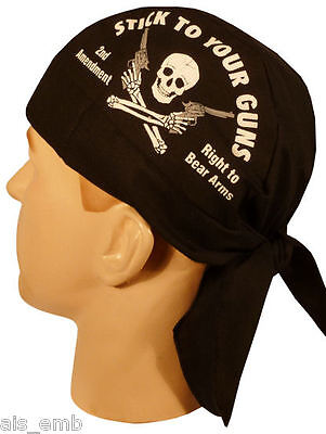 2nd Amendment Skull Cap Stick To Your Guns Motorcycle Biker Doo Rag Head Wrap