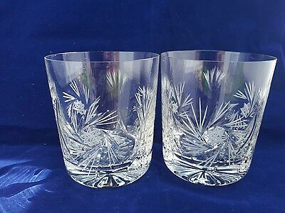 Stunning pair of lead cut crystal tumblers new in box
