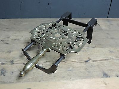 Antique Victorian Brass & Cast Iron Trivet For Cooking Range (T31)