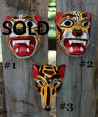 Mexican Folk Art Hand Carved, Medium Tiger & Coyote Masks SOLD SEPARATELY Jungle