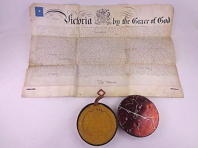 Antique Patent Victorian Royal Wax Seal 1872 Jobson Telegraph Insulator Vellum