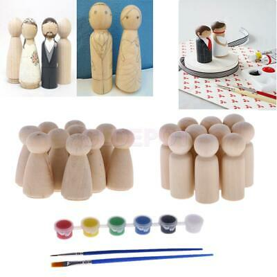 10pcs/Set Unfinished DIY Wooden Peg Doll Hand Painting Craft Wedding Cake Topper
