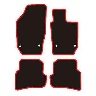 Seat ibiza (2008-2017) Black Carpet Fully Tailored Car Floor Mats With Red Trim.