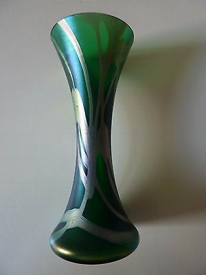 Okra glass vase early unusual green height 18cm signed 1998