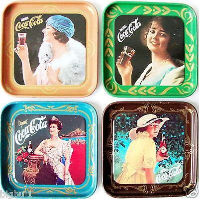 LOT COCA COLA Coke Decoration Tin Metal Coaster Plate Tray Scatolificio Lecchese