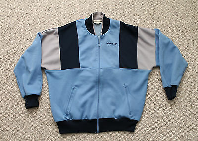 Vintage 80's Mens Adidas Track Jacket - Blue and Grey - Large