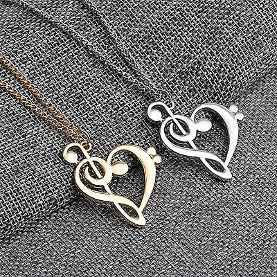 New Love Heart Treble Clef Music Note Elegant Silver Plated Pendant Necklace UK