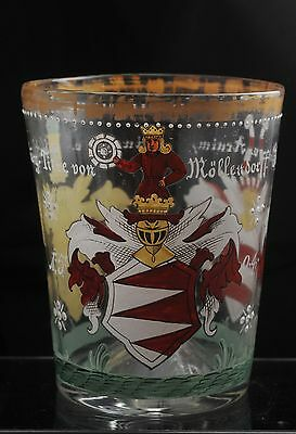 "ANTIQUE GERMAN HAND PAINTED DRINKING GLASS with PONTIL MARK 5.5"" tall"