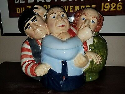 The Three Stooges Collectible Cookie Jar Clay Art San Francisco 97 Hand Painted
