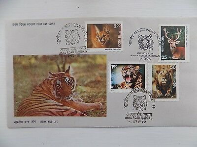 First Day Cover India 1976 Indian Wild Life Tiger Anna Road Madras