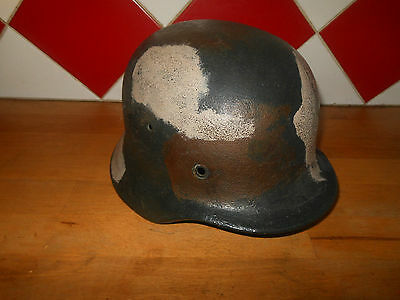 Ww2 Casque Allemand Model 40 Camoufle 3 Tons