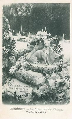Old RARE Postcard PC Italian Greyhound Dog Tomb Cemetery France 1901