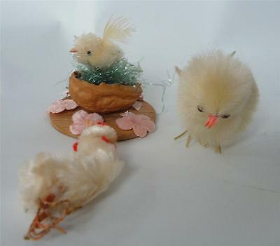 Vintage Chenille Chick Lot Easter spring Rooster Chick Tiny One in Nest 3 total