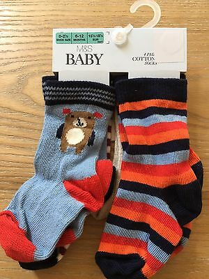 Marks & Spencer's Baby 4 Pairs Cotton Rich Ankle Socks Various Sizes BNWT
