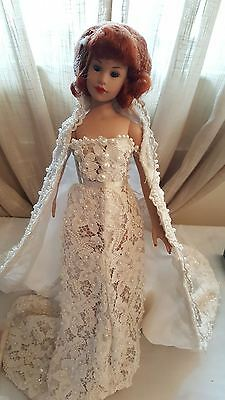 """TONNER American Beauty Kitty Collier 18"""" doll in custom pearl/lace cape & gown"""