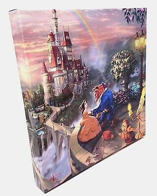 Disney Beauty And The Beast Thomas Kinkade Canvas + CERTIFICATE OF AUTHENTICITY