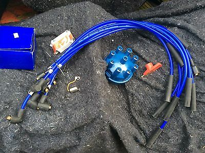 Rover SD1 P5 P6 V8 Blue Distributor Cap & Red Rotor Arm & Blue 8mm HT Leads