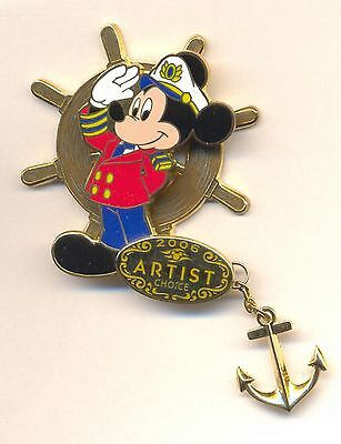 Disney Cruise Line Artist Choice Captain Mickey Saluting Anchor Dangle LE Pin