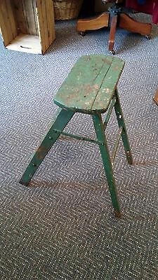 Vintage Primitive Wooden green Fold Up Step Stool