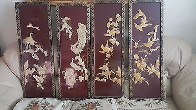 vintage,oriental mother of pearl wall placques/pictures