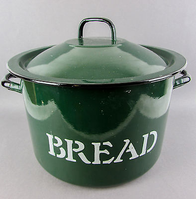 Vintage English Bread Bin Enamel Large Green Shabby Chic Round Retro Antique