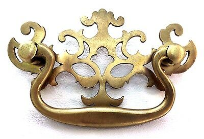 "Brass Antique Hardware Vintage Pierced Back Chippendale Drawer Pull  3"" center"