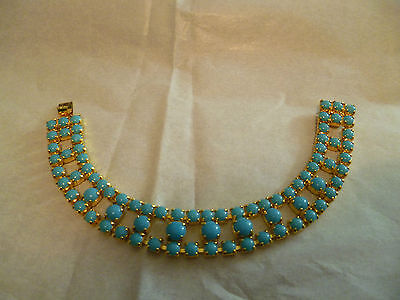 vintage glass turquoise beaded gold plated 1950s / 60s  bracelet