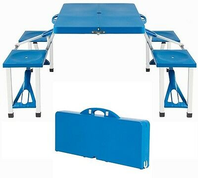 Portable 4 Seats Set Outdoor Plastic Folding Picnic Table Camping
