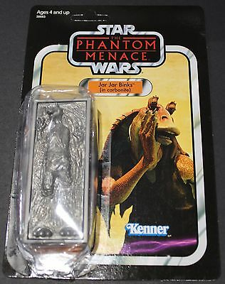 Star Wars Ep 1 - Jar Jar Binks (In Carbonite) In Package - Peg Hook Punch Intact