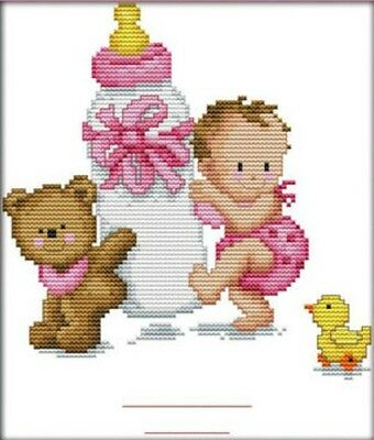 Bottle Baby's Birth Certificate G 14CT counted cross stitch kit. Craft brand new