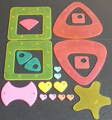 ELLO CONSTRUCTION PARTS AND HEARTS x 19.  MIXED COLOURS.  UK DISPATCH
