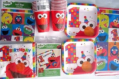 Sesame Street Elmo Turns 1 1st Birthday Party Supply DELUXE Kit w/Invites & Bags