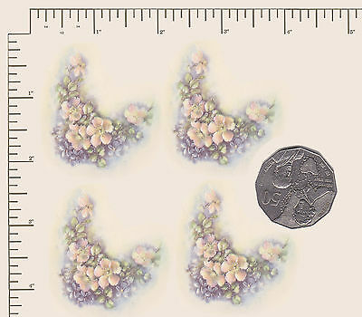 "4 x Waterslide ceramic decals Violets /Blossoms floral Approx. 2"" x 1 3/4"" PD896"