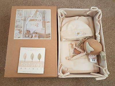 Natures Purest Layette Gift Set - shaewl hat mitts jingle ball and nursery box
