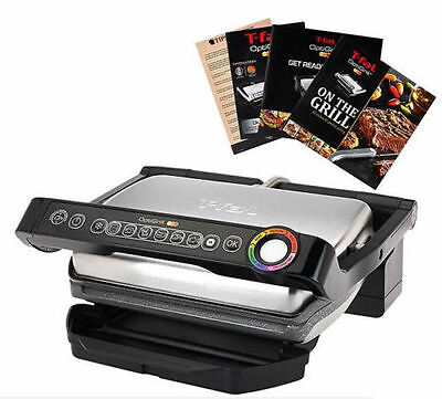 T-Fal Gc704 Optigrill W/ Recipe Books Indoor Electric Grill Removable Plates Slv