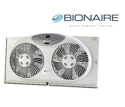 Bionaire 3 Speed Twin Digital Window Fan Reversible Airflow with Remote Control