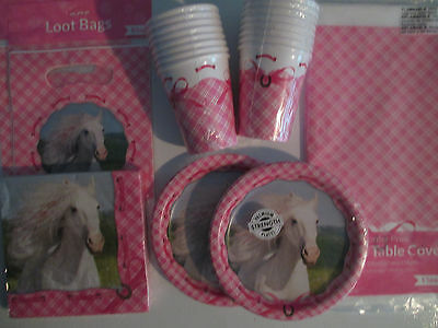 HEART MY HORSE PINK - Birthday Party Supplies Set Pack Kit 16  w/ Loot Bags
