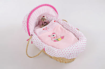 Complete bedding set and covers for Moses Basket -pink