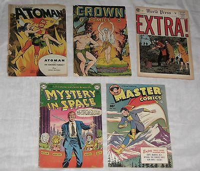 LOT/5 Comics ATOMAN #2 CROWN #6 EXTRA #5 MASTER #122 MYSTERY IN SPACE #10