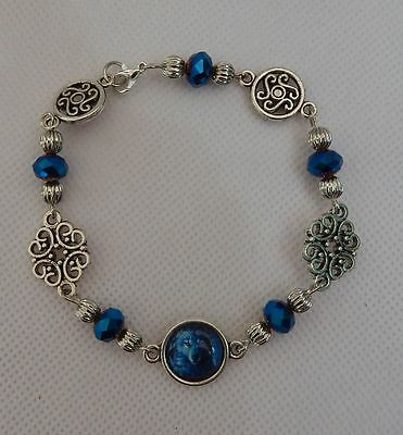 Silver Wolf Link Bracelet handmade New Accessories Fashion Beaded Blue