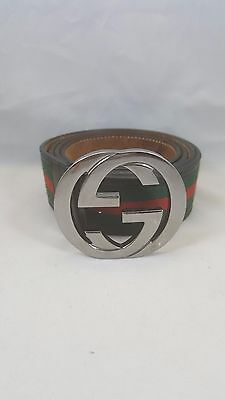 Authentic Gucci Men's Black, Red, Green Leather Web Stripe Belt - Size 40